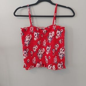 Almost Famous Red Floral Crop Tank Top